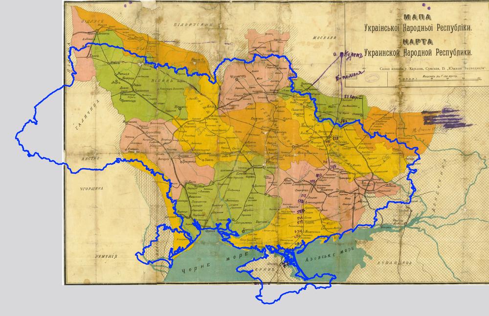 Карта УНР 1918 года