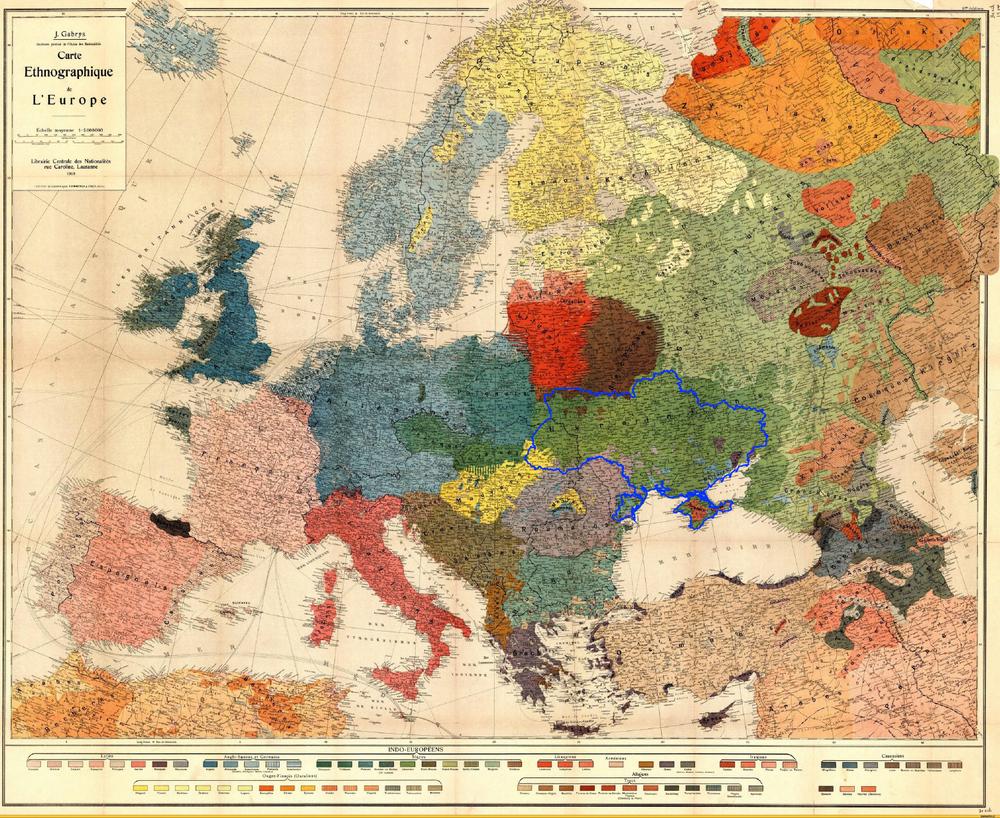 Этнографическая карта Европы 1918