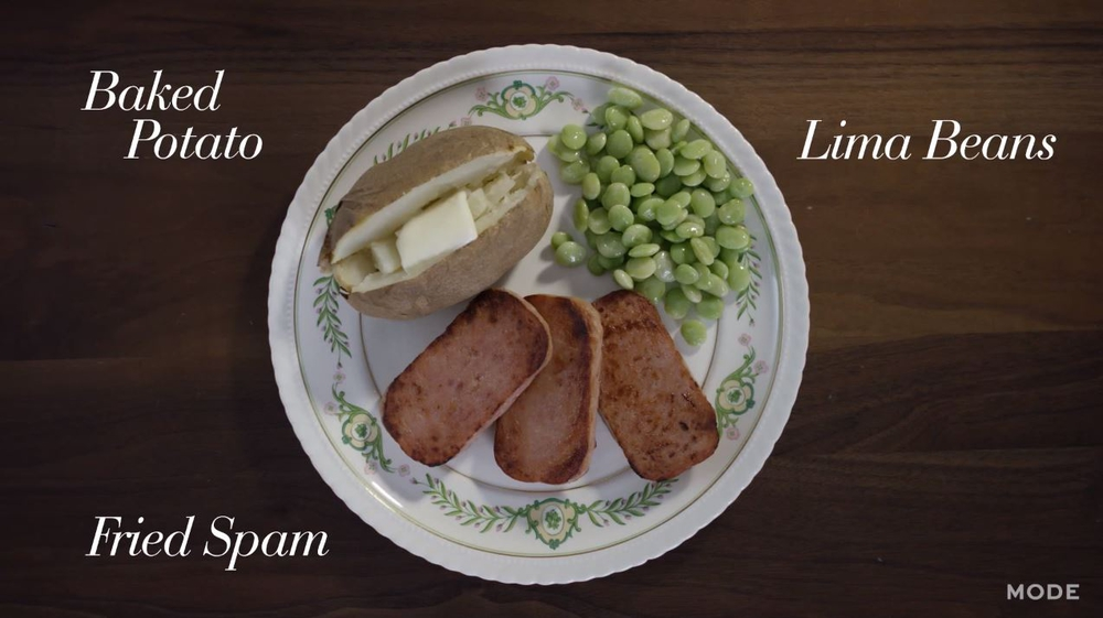 Spam With a Baked Potato & Lima Beans