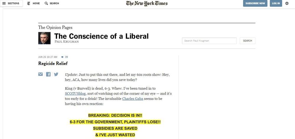 Блог Пола Кругмана в The New York Times