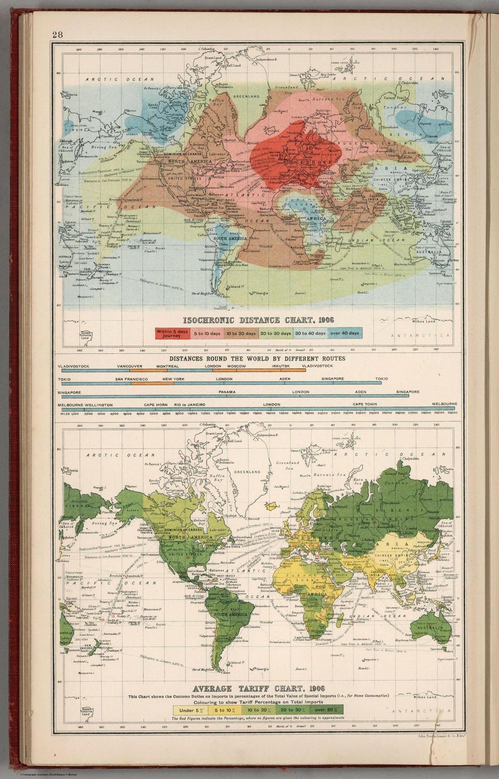 карта расстояний 1906 год