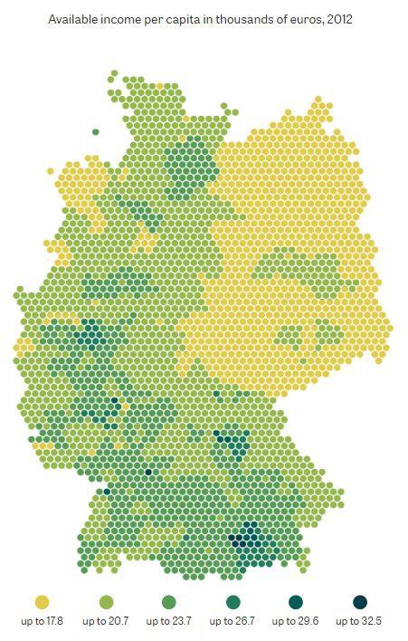 Доходы в западной и восточной Германии