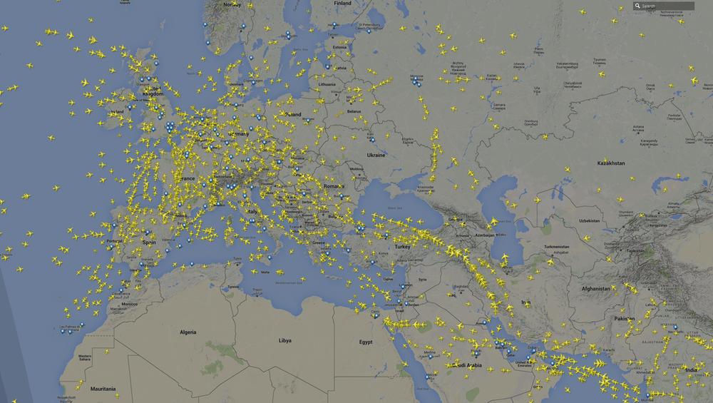 Количество самолетов над странами