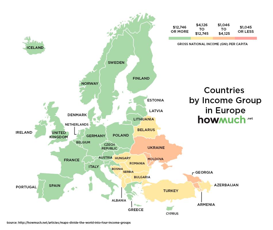 ВВП на душу населения в Европе