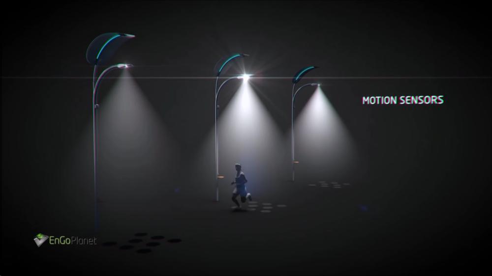 фонари светят от шагов