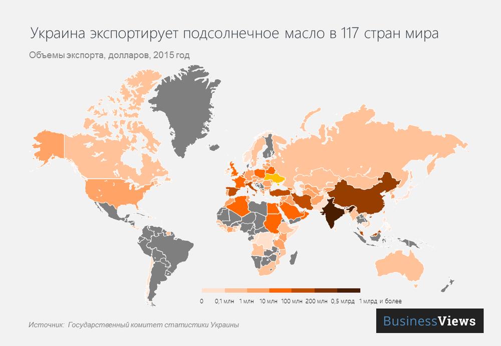 страны, в которые Украина экспортирует подсолнечное масло