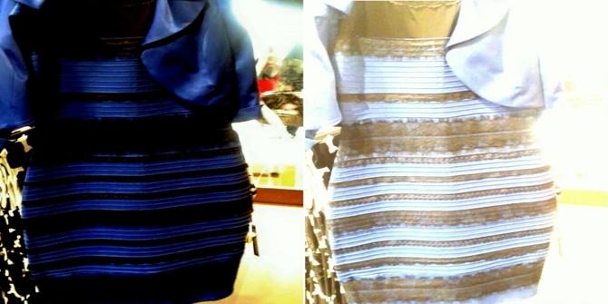 сине-серное или бело-золотое платье