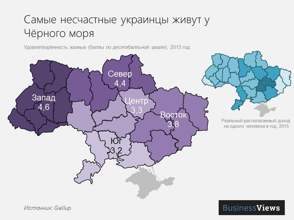 счастье украинцев по областям