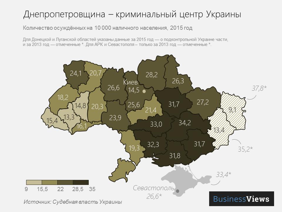 количество осужденных в Украине