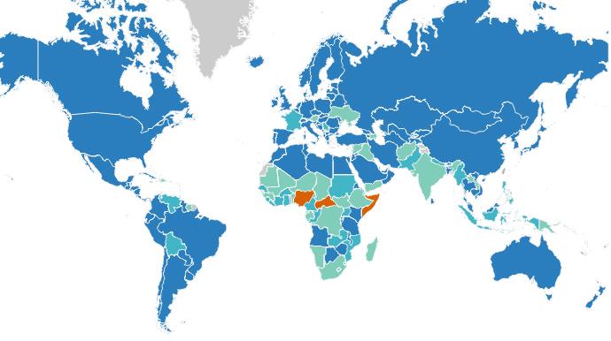 охват населения вакциной в мире