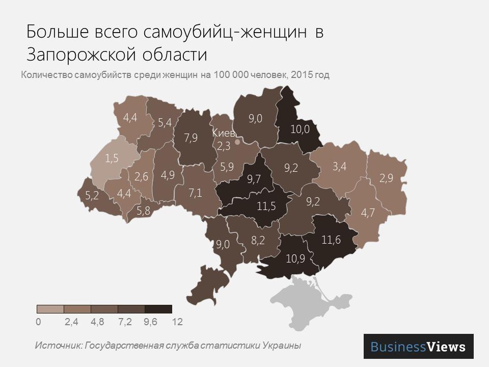 Больше всего женщин-самоубийц в Запорожской области