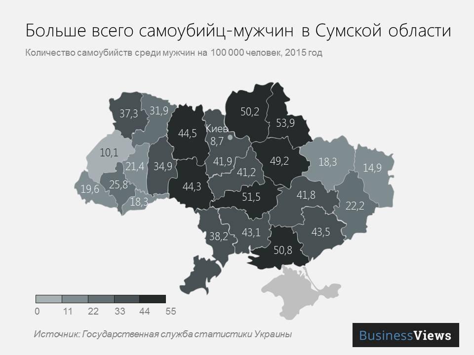 Больше всего мужчин-самоубийц в Сумской области
