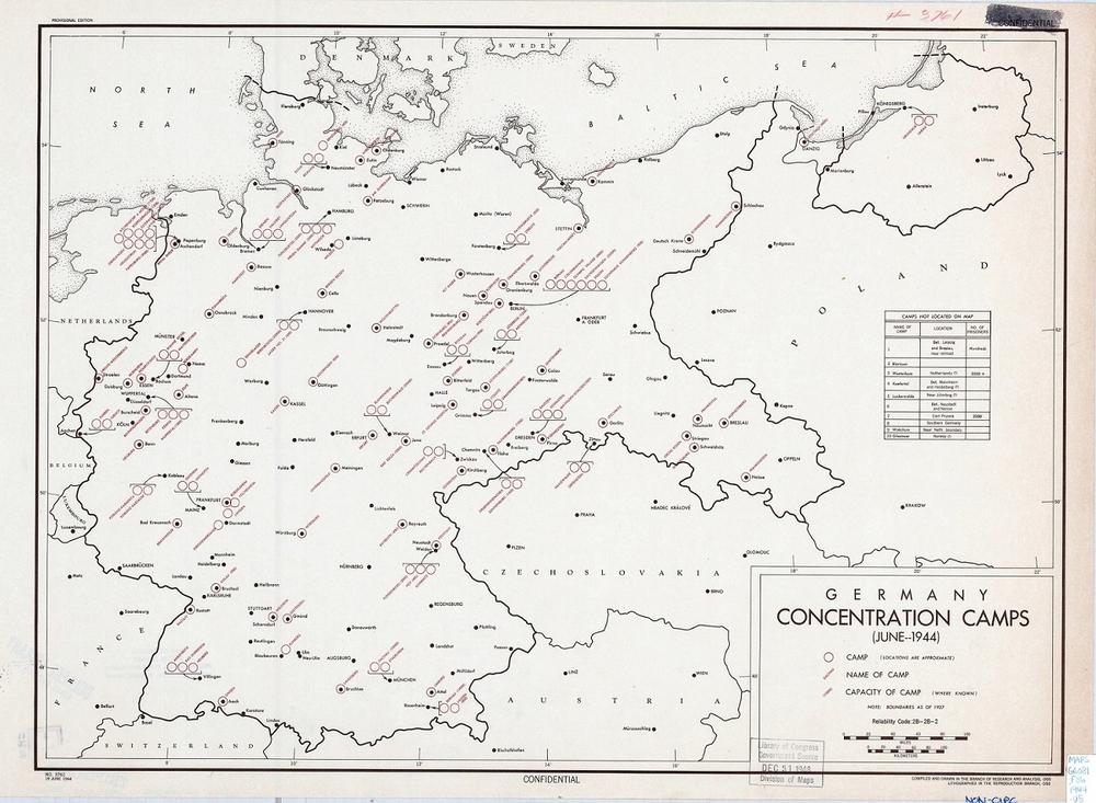 карта немецких конлагерей