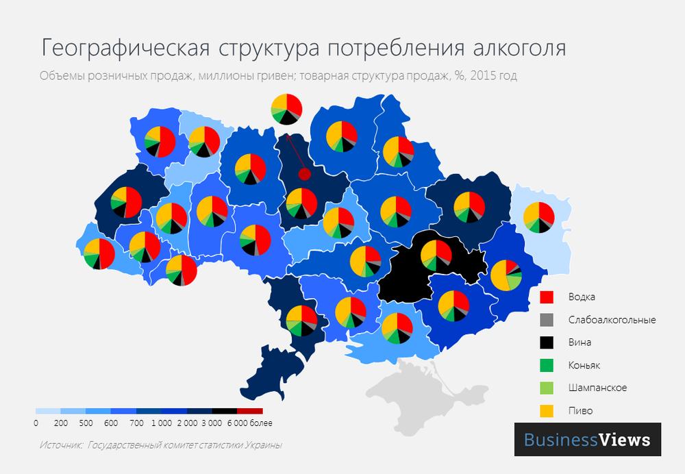 Географическая структура потребления алкоголя в Украине