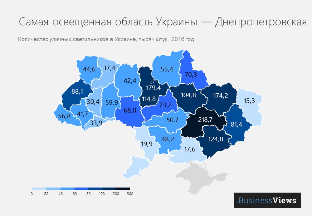 количество фонарей в Украине