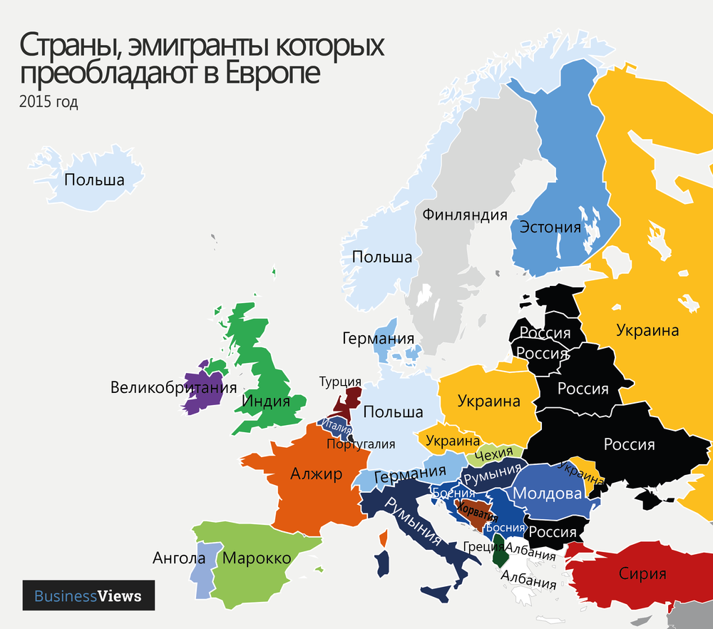 Страны, эмигранты которых преобладают в Европе