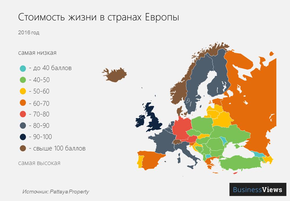 стоимость жизни в европе