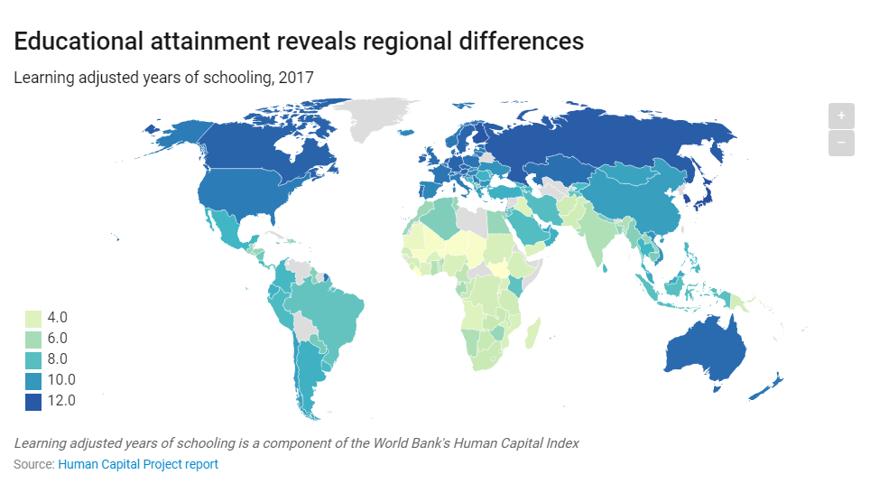 Educational attainment reveals regional differences
