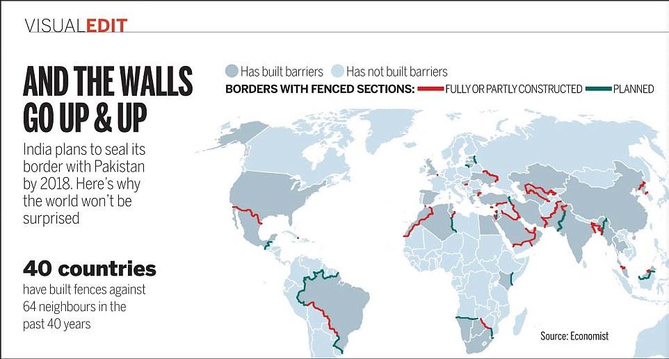 В каких еще странах есть стены на границе, кроме Украины и России