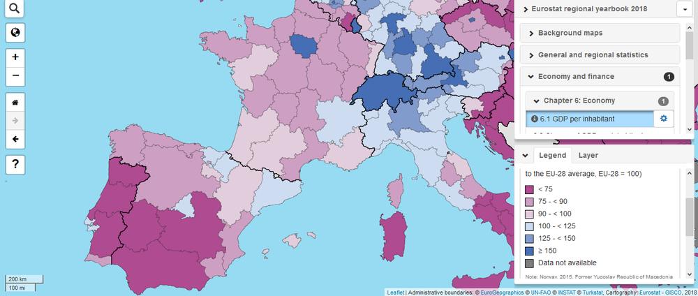 ввп на душу населення за регіонами іспанії