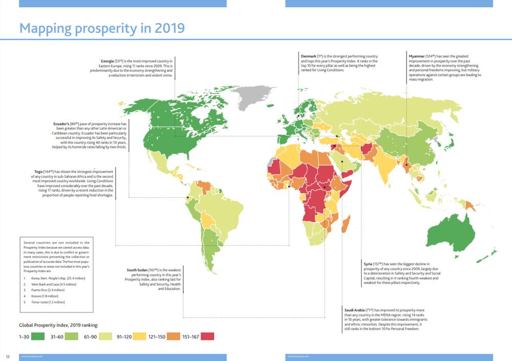 карта країн за рівнем процвітання
