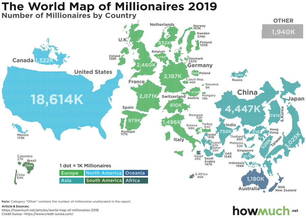 кількість мільйонерів за країнами світу