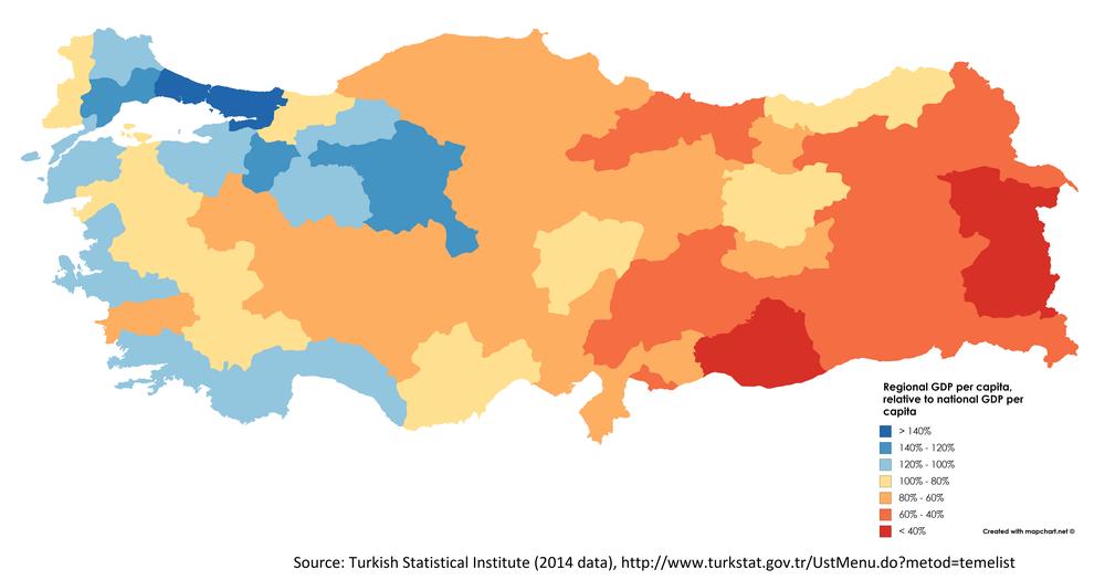 ВВП по регионам Турции