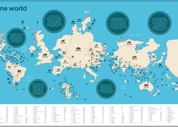 Неожиданная карта, которая показывает количество сайтов в каждой стране