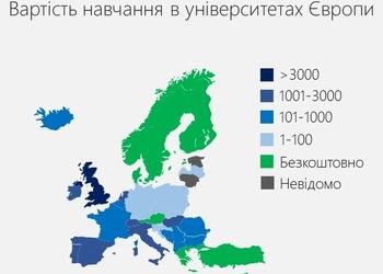 Карта дня: скільки коштує навчання в університетах Європи