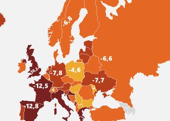 Карта: как сильно упадут экономики европейских стран из-за эпидемии