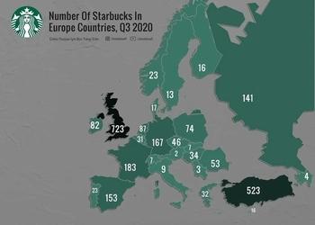 Карта дня: количество кофеен Starbucks в каждой стране Европы (и почему их нет в Украине)